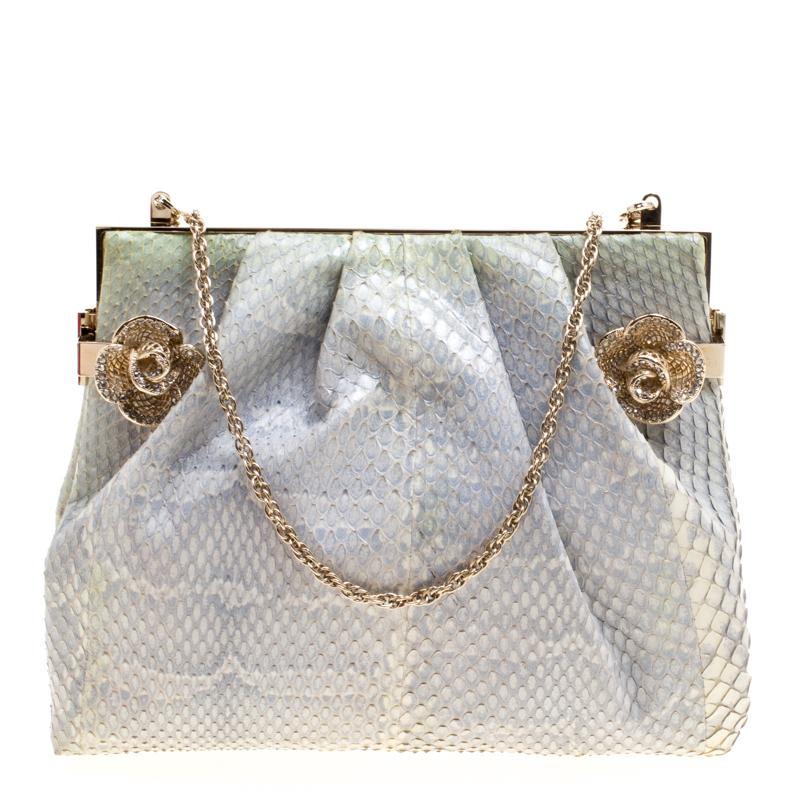 Buy Valentino Grey Python Embellished Flower Lock Evening Bag 113861 ...
