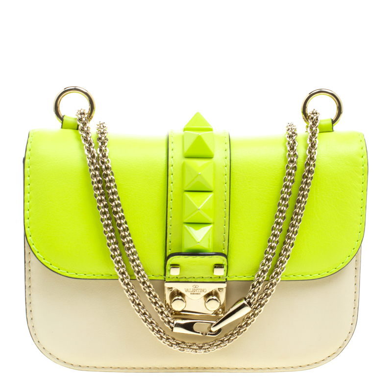 052f768f1 ... Valentino Neon Green/Light Beige Leather Small Rockstud Glam Lock  Shoulder Bag. nextprev. prevnext