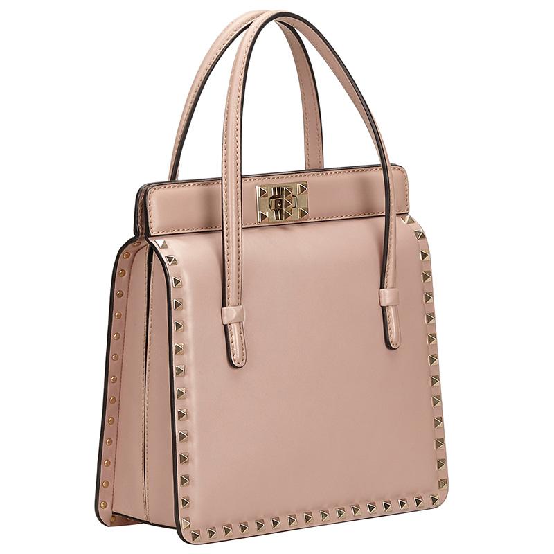 Valentino Poudre Leather Rockstud Frame Satchel Bag