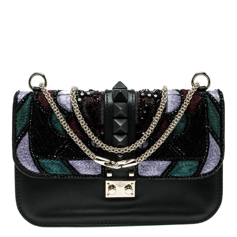 ac4228121fa Buy Valentino Black Leather Medium Beads Embellished Glam Lock Shoulder Bag  136434 at best price | TLC