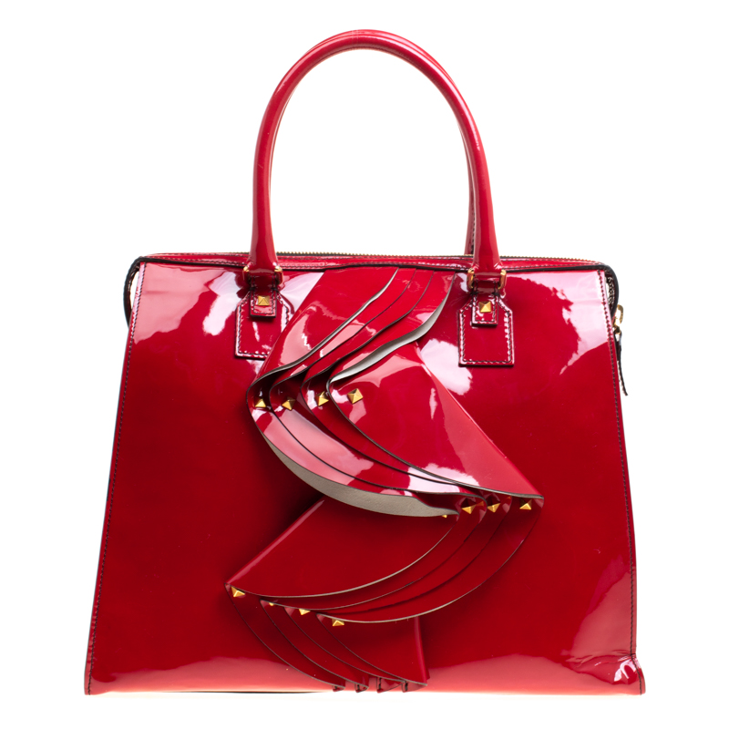 Valentino Red Patent Leather Rockstud Tote