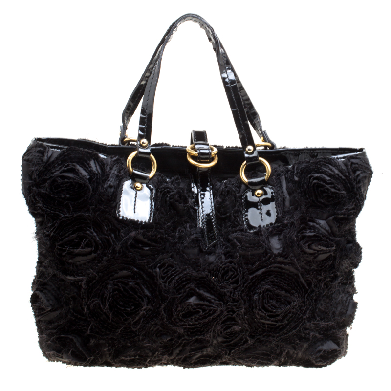 Buy Valentino Black Fabric and Patent Leather Flower tote 150796 at ...
