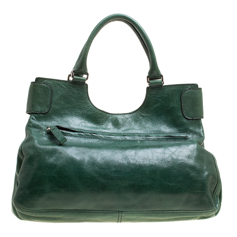 popular stores official shop authentic Valentino Green Leather Crystal Catch Shoulder Bag