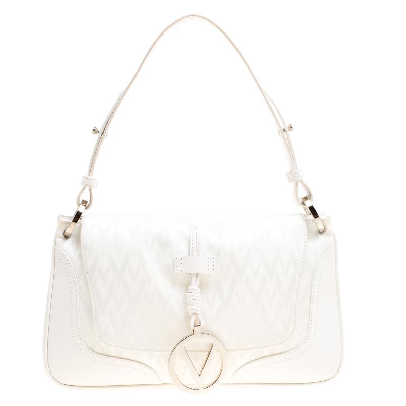 Valentino White Fabric Logo Charm Shoulder Bag