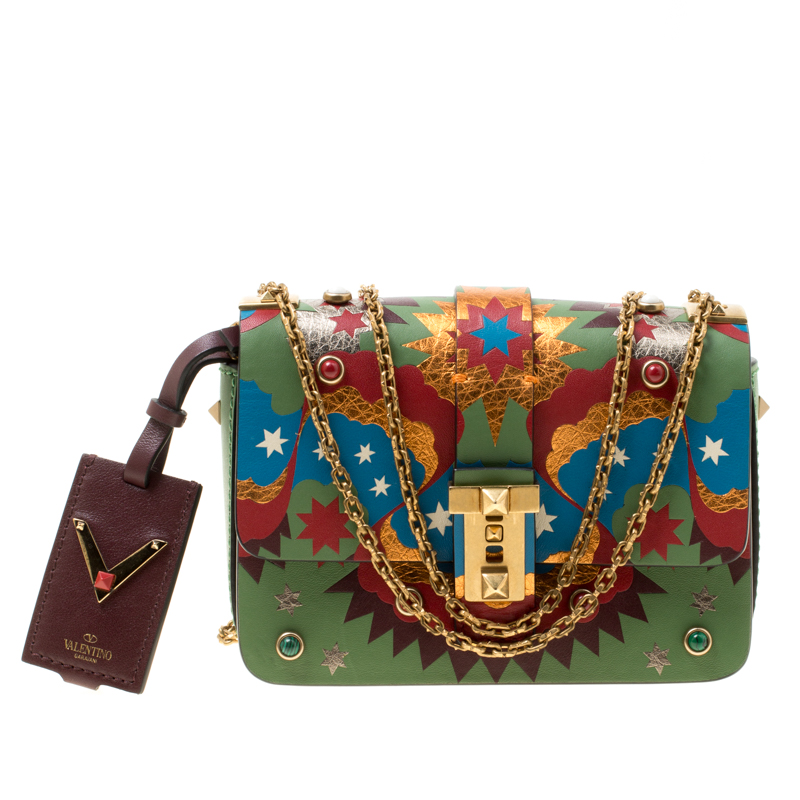 07355d9f2596d ... Valentino Green/Multicolor Print Leather Micro B Rockstud Shoulder Bag.  nextprev. prevnext