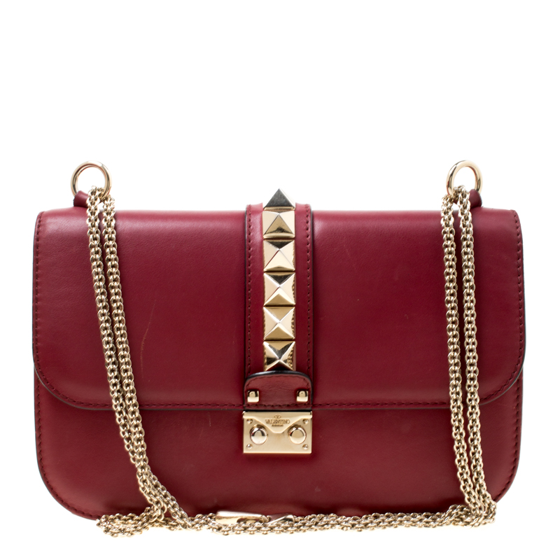bb3d587a4a4 ... Valentino Burgundy Leather Rockstud Medium Glam Lock Flap Bag.  nextprev. prevnext