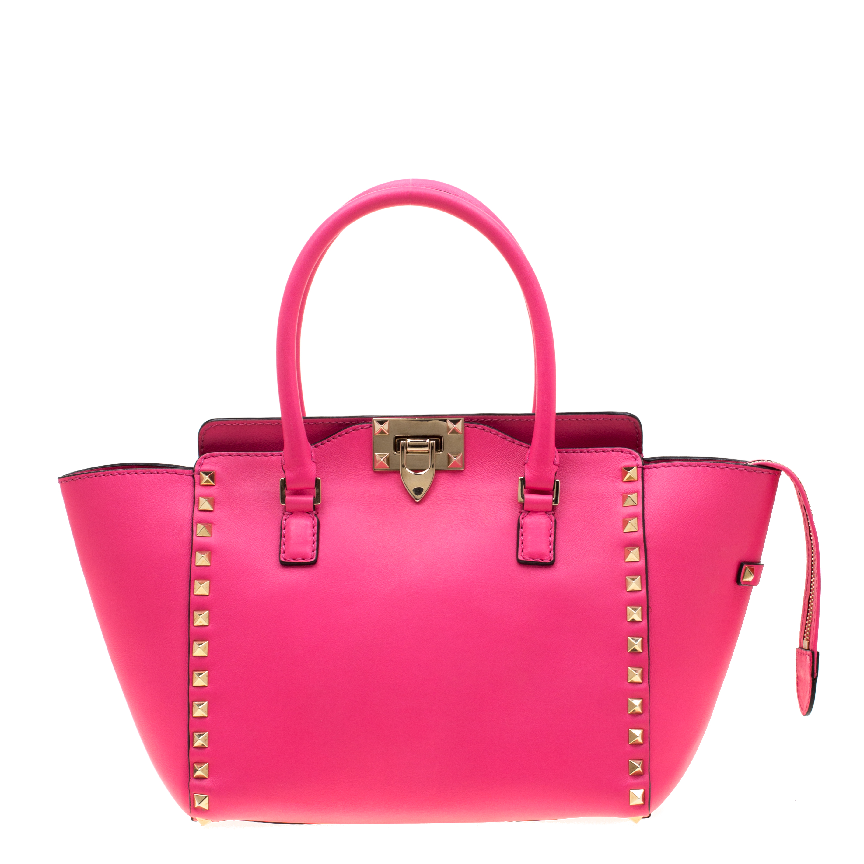 ae88004d1a ... Valentino Neon Pink Leather Small Rockstud Tote Bag. nextprev. prevnext
