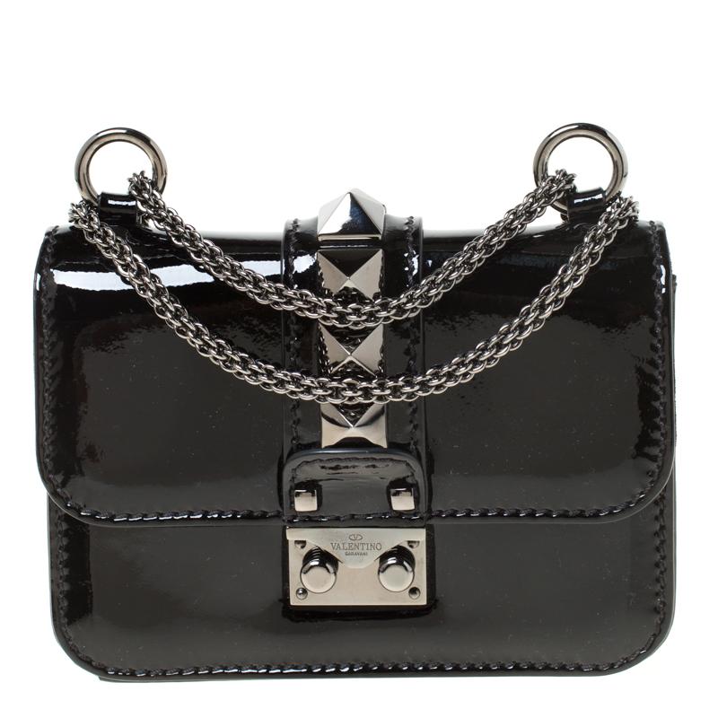 Valentino Black Patent Leather Rockstud