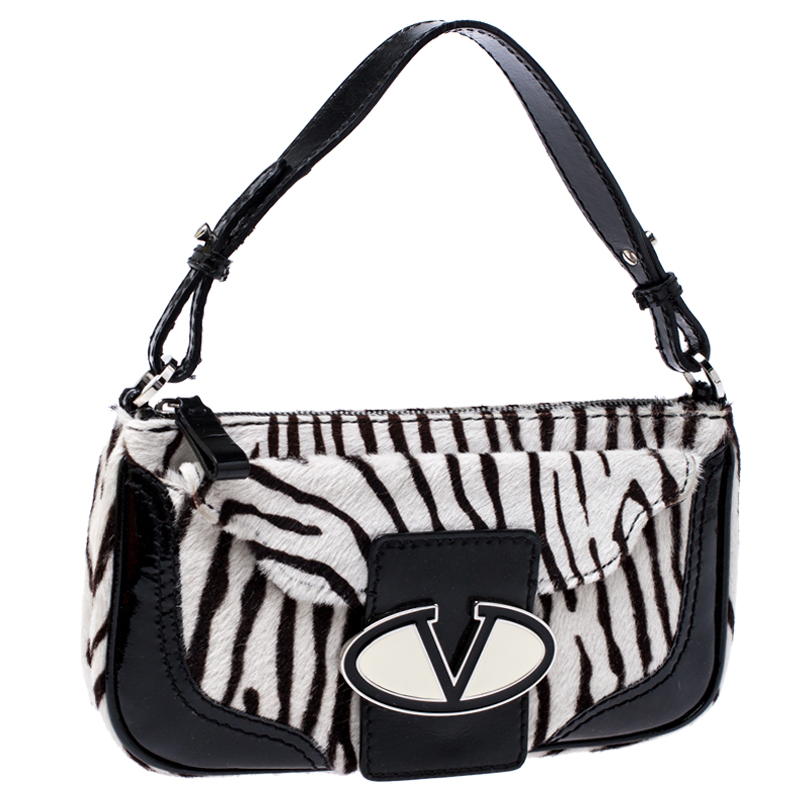 Valentino Black White Calfhair And Patent Leather Shoulder Bag