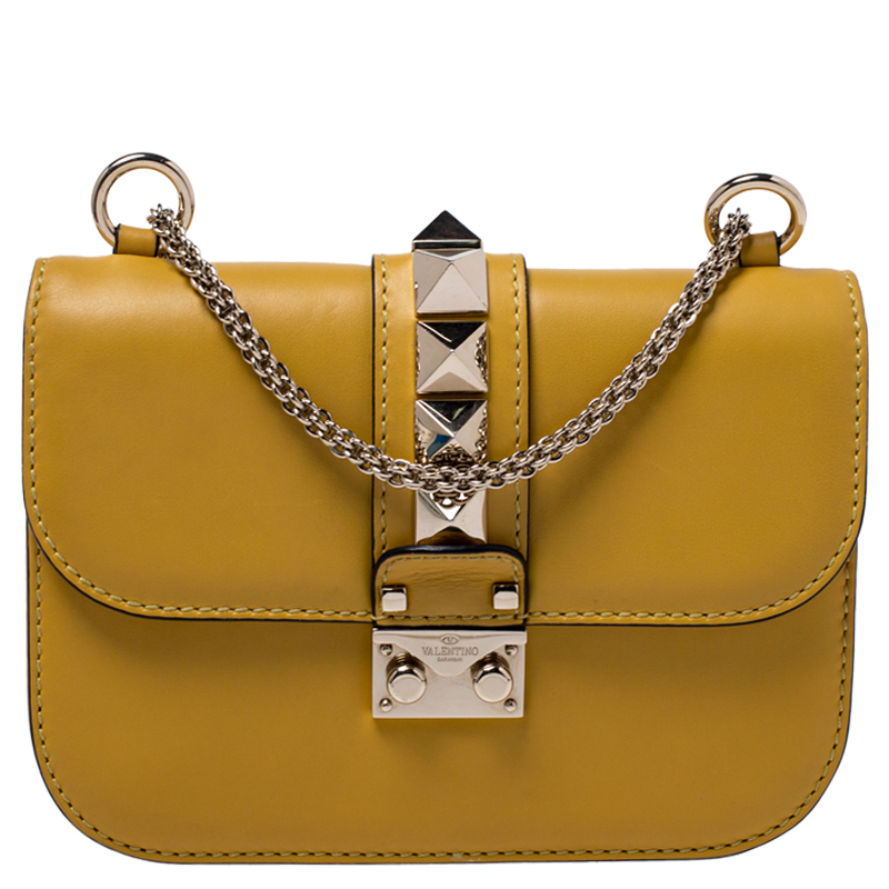 Valentino Yellow Leather Small Glam Lock Flap Bag