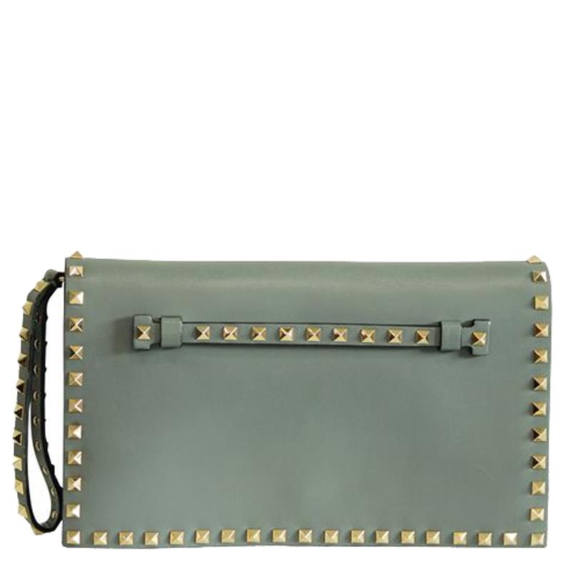 Valentino Grey Leather Rockstuds Clutch