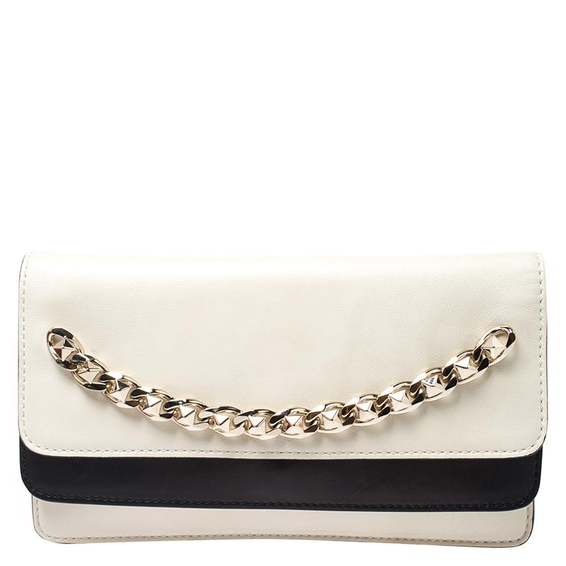 Valentino Garavani White/black Leather Chain Double Flap Clutch