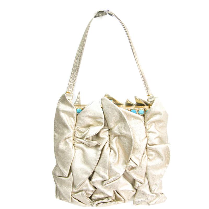 Valentino Garavani Gold Leather Rock Studs Shoulder Bag