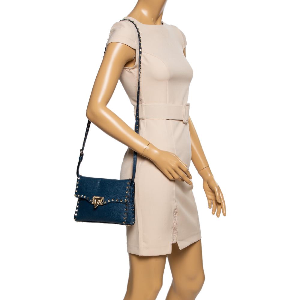Valentino Blue Leather Rockstud Shoulder Bag  - buy with discount