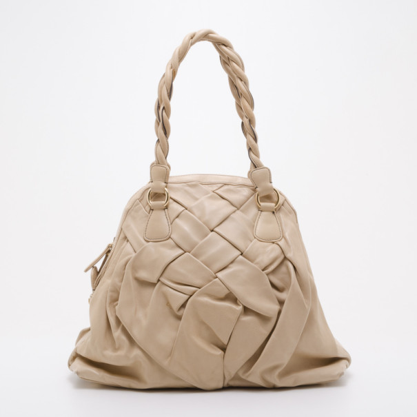 Valentino Nappa Leather Couture Braided Tote
