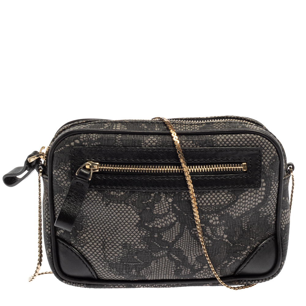 Pre-owned Valentino Garavani Black Lace Print Coated Canvas And Leather Crossbody Bag