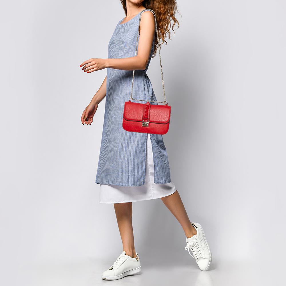 Valentino Red Lipstick Leather Medium Rockstud Glam Lock Flap Bag