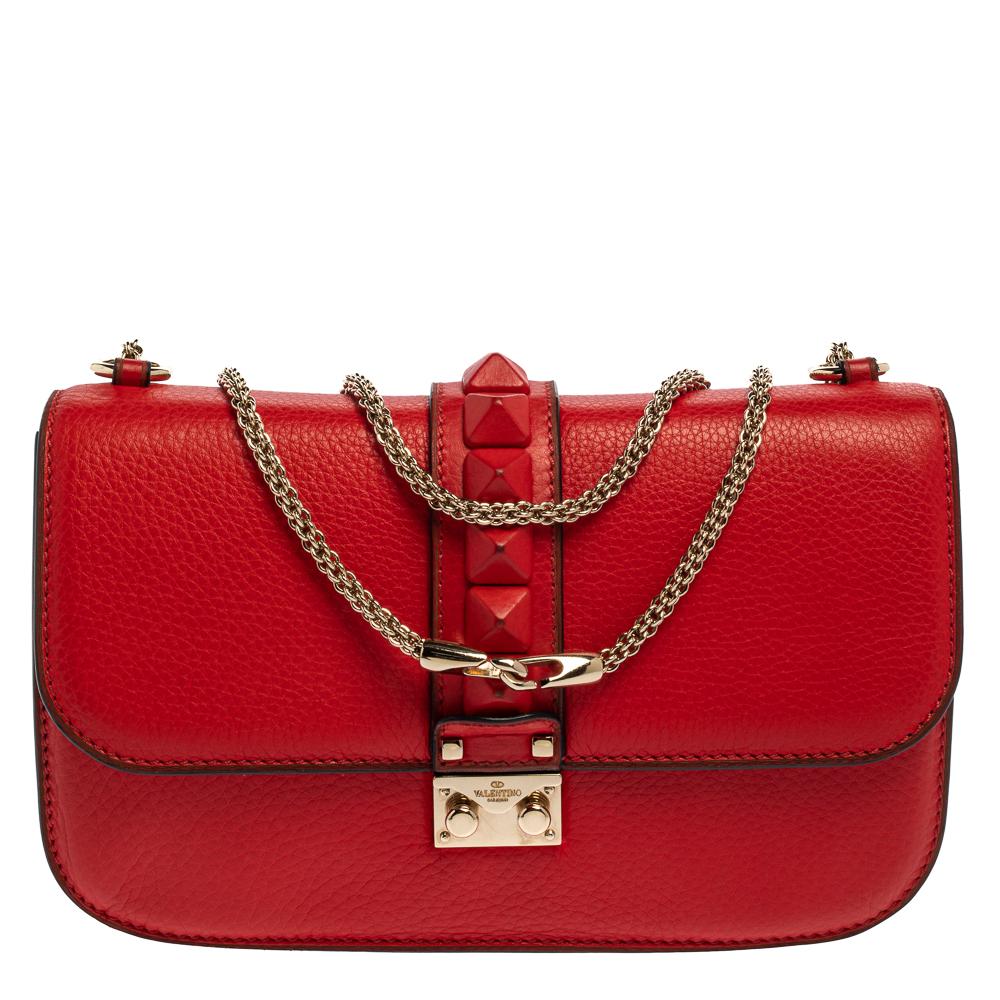 Pre-owned Valentino Garavani Red Lipstick Leather Medium Rockstud Glam Lock Flap Bag