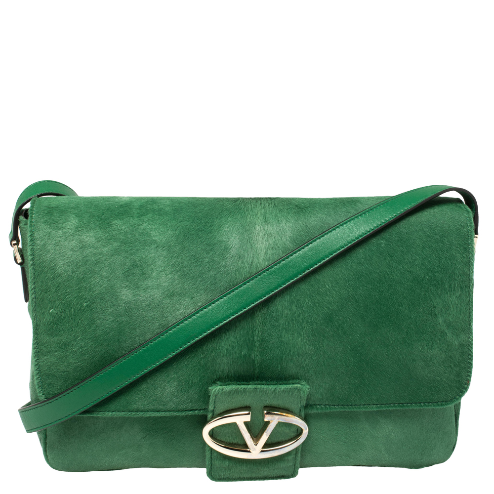 Pre-owned Valentino Garavani Green Calfhair And Leather Flap Shoulder Bag