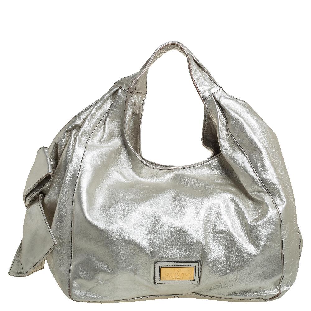 Pre-owned Valentino Garavani Silver Leather Nuage Bow Hobo