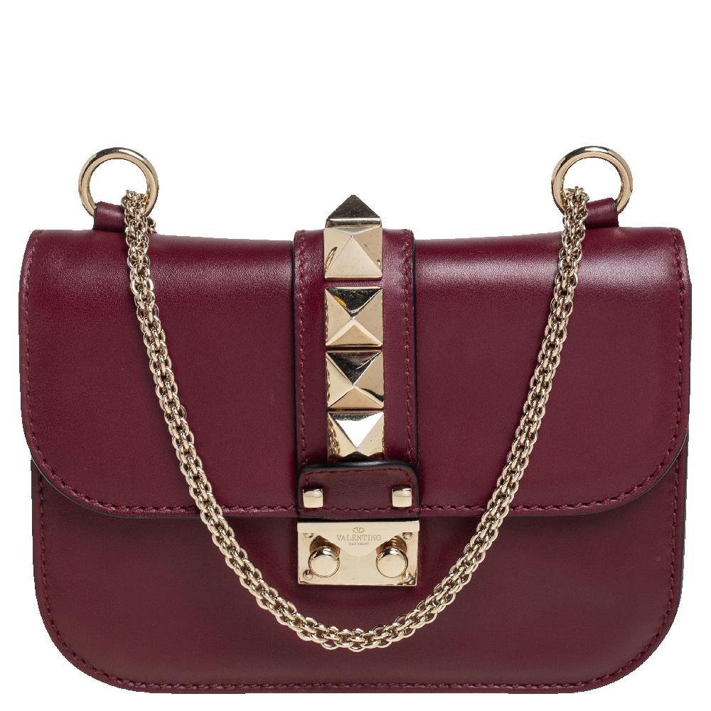 Pre-owned Valentino Garavani Burgundy Leather Small Rockstud Glam Lock Flap Bag
