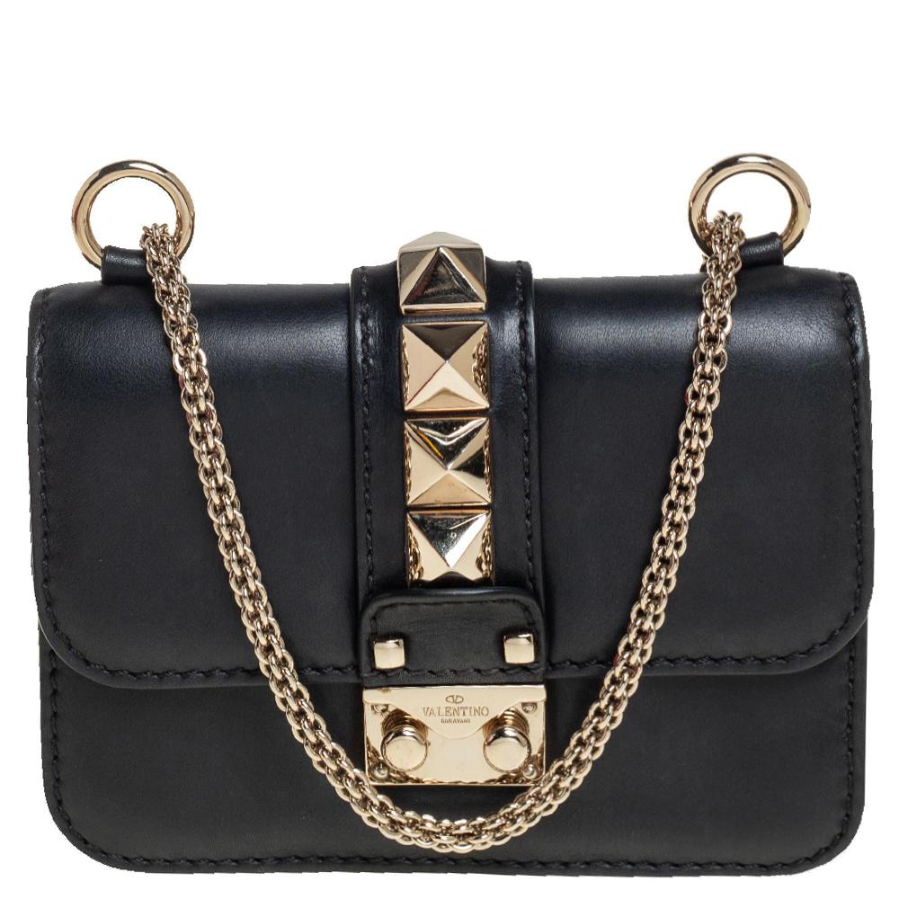 Pre-owned Valentino Garavani Black Leather Mini Rockstud Glam Lock Flap Bag