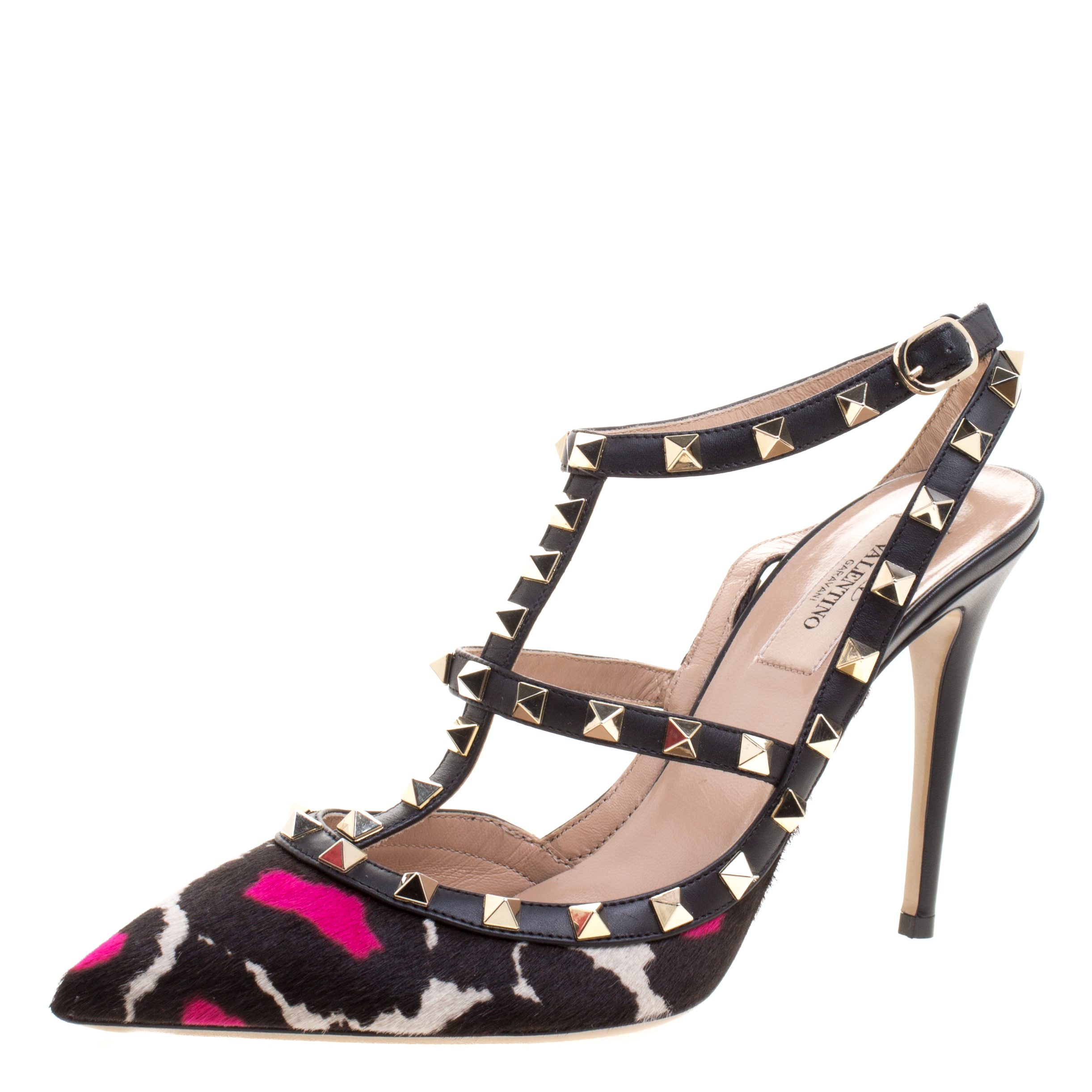 1d606d3674672 Buy Valentino Black Leather and Printed Calfhair Rockstud Sandals ...