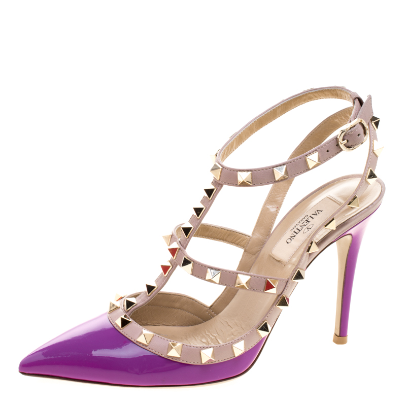 2b2eb50375d Valentino Beige and Purple Patent Leather Rockstud Sandals Size 37
