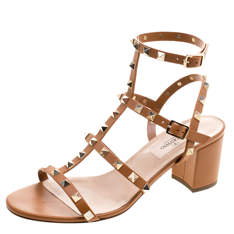 974d779fba36 ... Valentino Brown Leather Rockstud Block Heel Sandals Size 38.5. nextprev.  prevnext