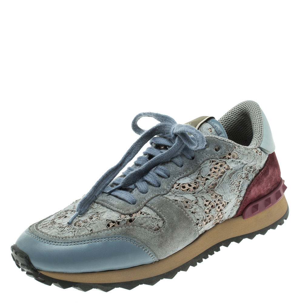 f26b319b4ebf9 Buy Valentino Slate Blue Lace and Suede Rockrunner Sneakers Size ...