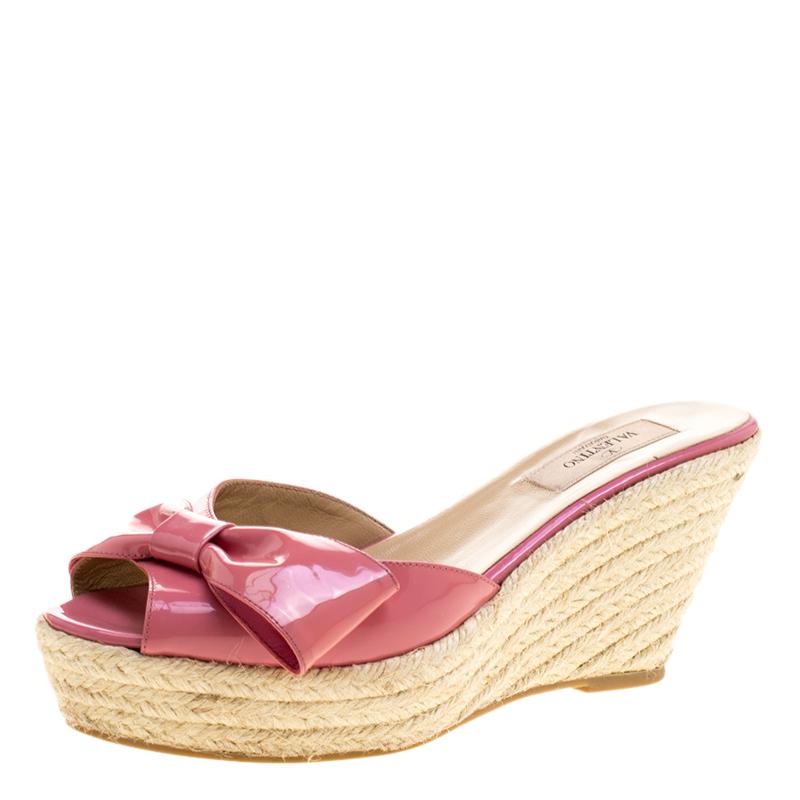 84678a9326a ... Valentino Pink Patent Leather Mena Espadrille Wedge Sandals Size 38.5.  nextprev. prevnext
