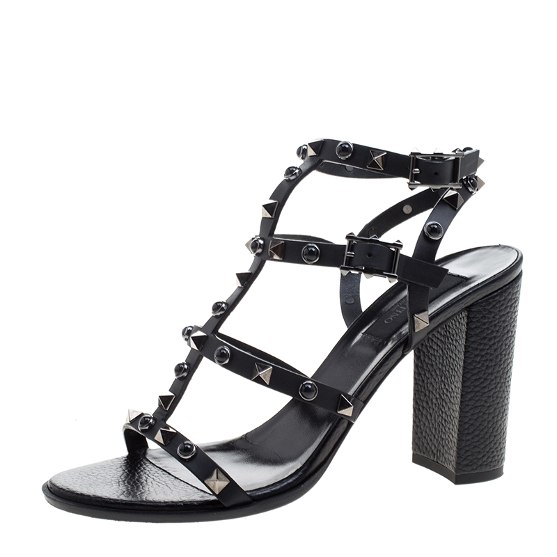 30e78580dd1 ... Valentino Black Leather Rolling Rockstud Gladiator Sandals Size 38.  nextprev. prevnext
