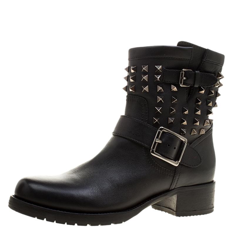 e152b4b1d40d Buy Valentino Black Leather Rockstud Biker Boots Size 39 132813 at ...