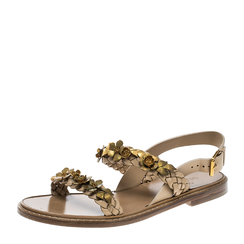 830f51452e8 Valentino Beige Braided Leather Floral Embellished Flat Sandals Size 39