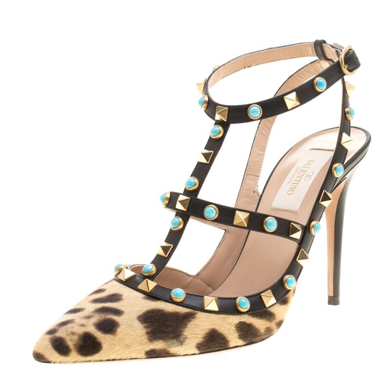 Valentino Beige Leopard Print Calf Hair Rolling Rockstud Sandals Size 38