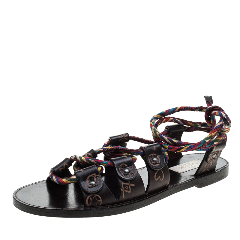Valentino Brown Leather Santeria Lace Up Sandals Size 38