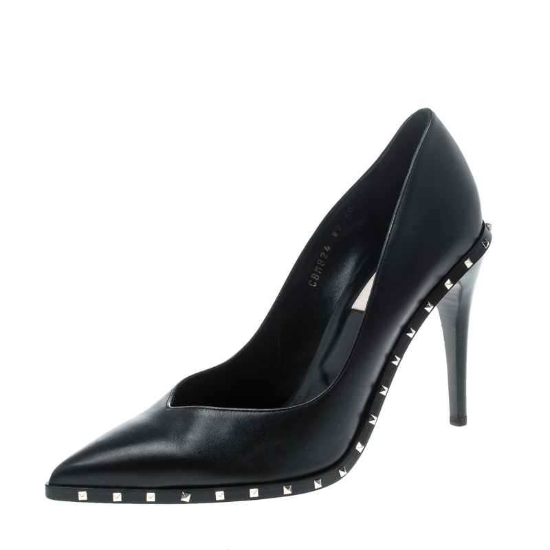 Valentino Black Leather Rockstud Pointed Toe Pumps Size 40