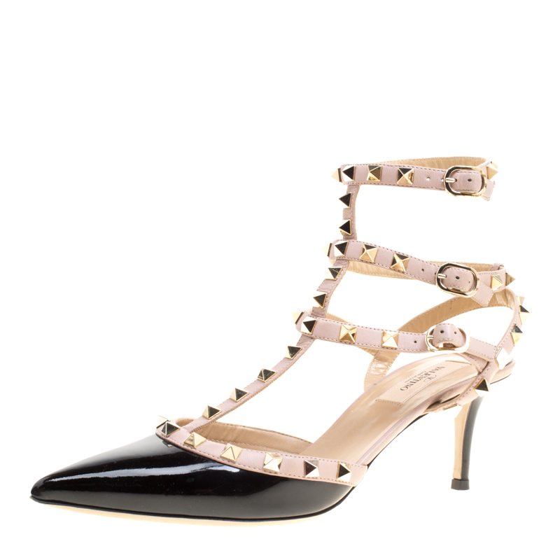 e75c22c16a00 ... Valentino Black and Beige Patent Leather Rockstud Ankle Strap Sandals  Size 39.5. nextprev. prevnext