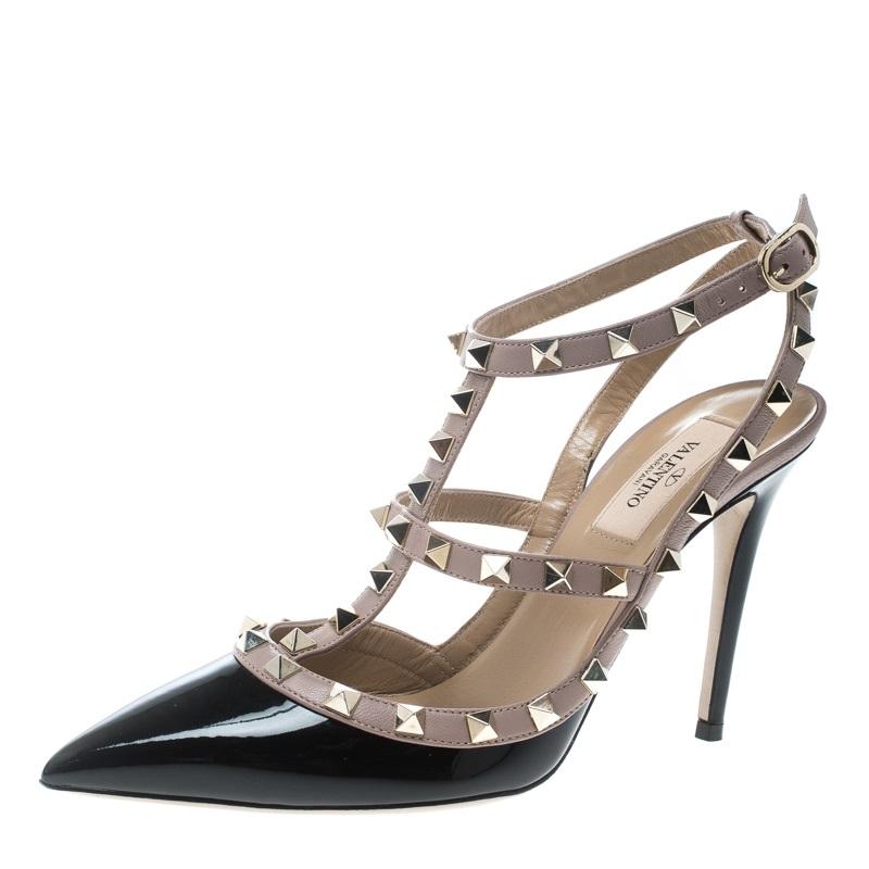 5052c3c2b092 ... Valentino Beige and Black Patent Leather Rockstud Sandals Size 38.  nextprev. prevnext