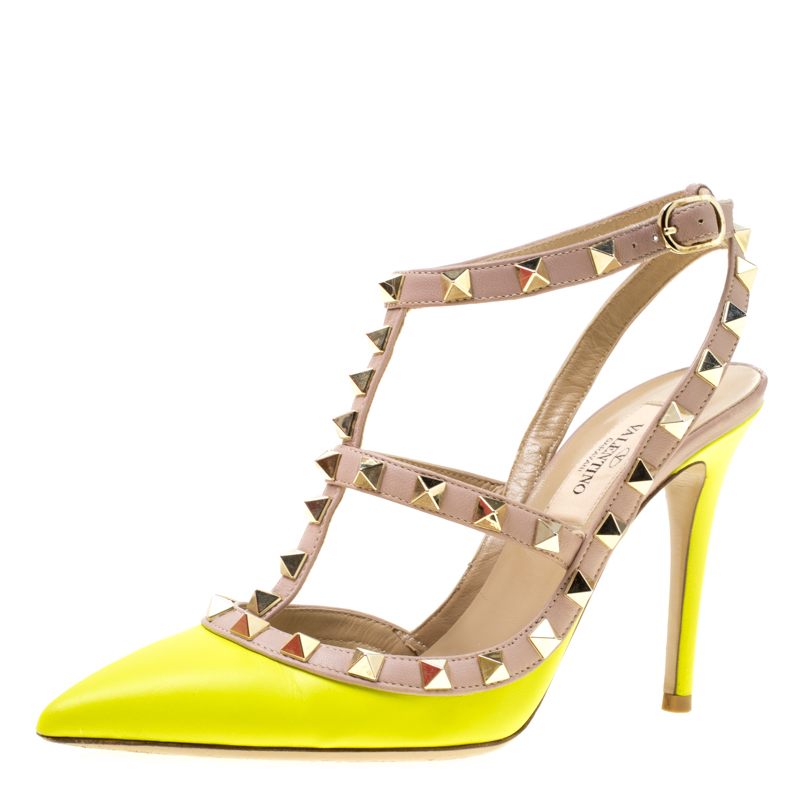 590d76d59bbf ... Valentino Neon Yellow and Beige Leather Rockstud Sandals Size 35.  nextprev. prevnext