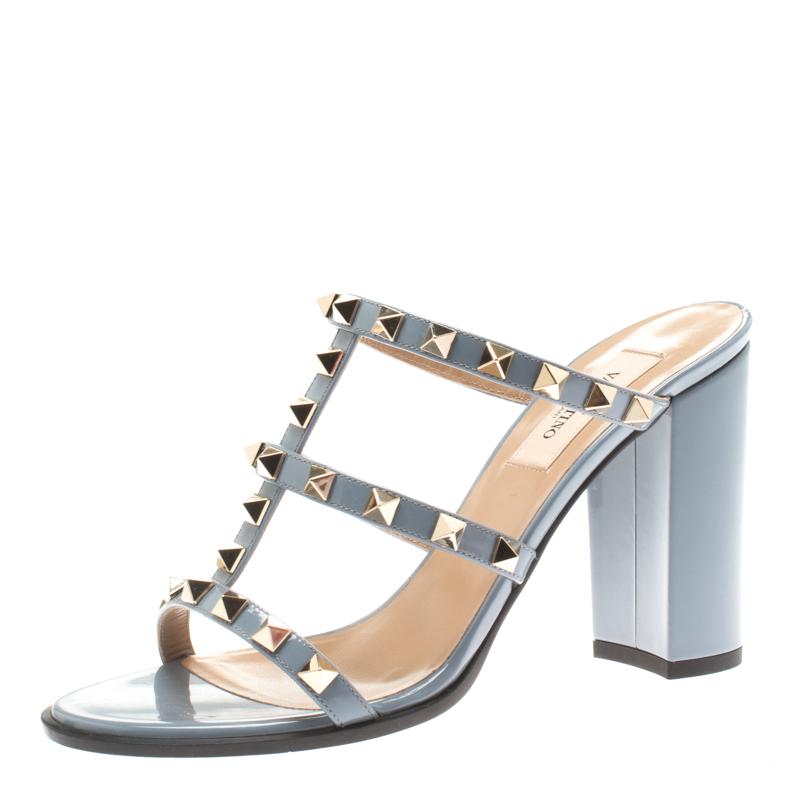 d916da02278 ... Valentino Grey Leather Rockstud Block Heel Slides Size 36.5. nextprev.  prevnext