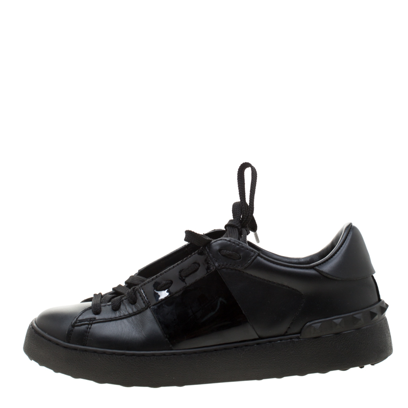 Купить со скидкой Valentino Black Leather Open Sneakers Size 37.5