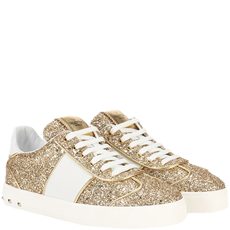 Valentino Gold/White Glitter et Cuir Flycrew Sneakers Taille 40