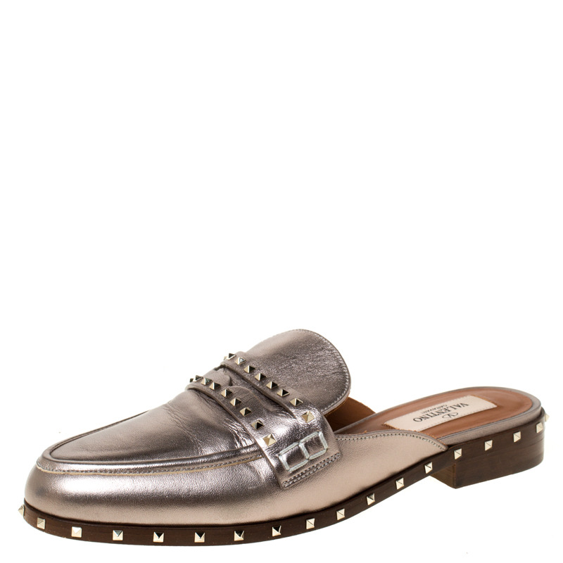 limited guantity cheap prices best supplier Pre-Owned Valentino Metallic Bronze Leather Soul Rockstud Flat ...