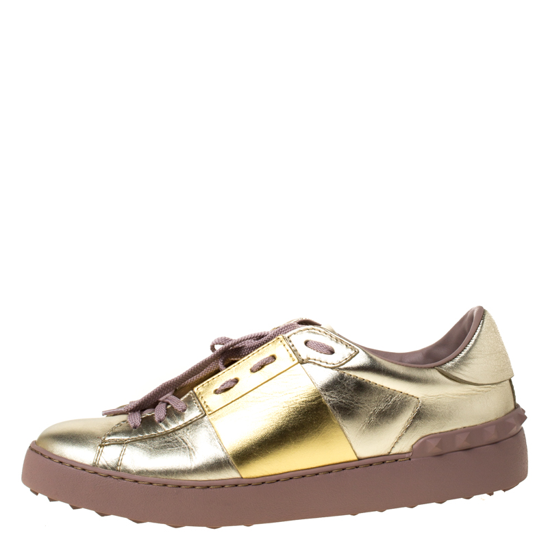 Valentino Metallic Gold Band Leather Open Low Top Sneakers Size 41  - buy with discount