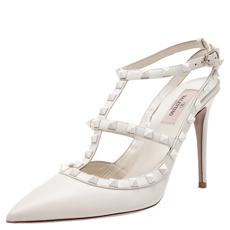 Valentino White Leather Rockstud Ankle Strap Pointed Toe Sandals Size 40.5