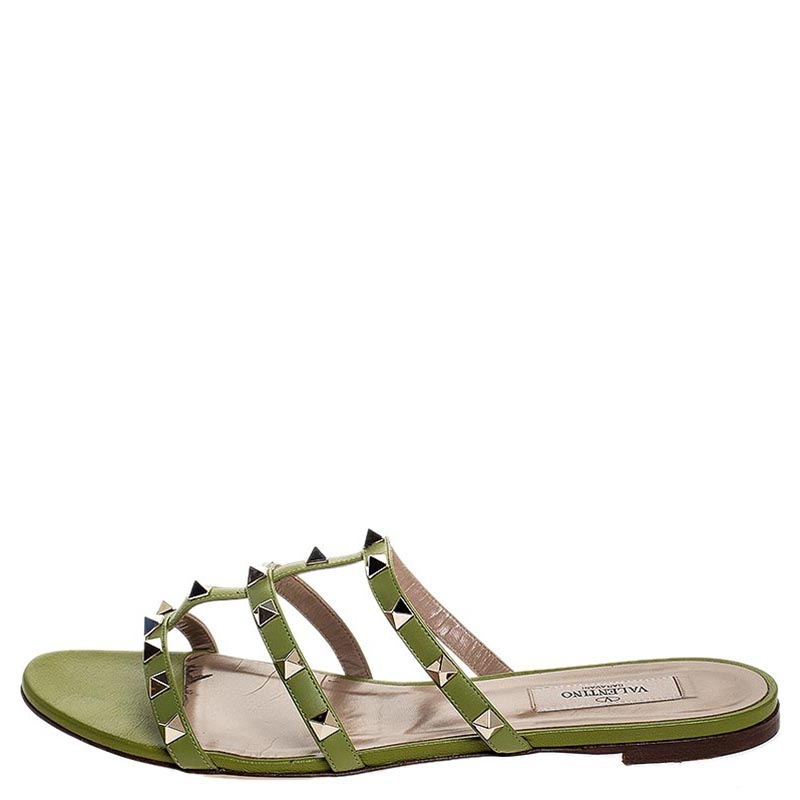 Valentino Green Leather Rockstud Cage Flat Slides Size Pink Buy At The Price Of 269 00 In Theluxurycloset Com Imall Com