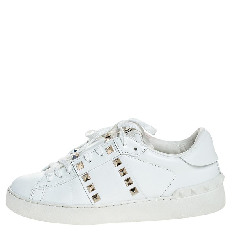 Valentino Weiß Leder Rockstud Untitled Low Top Sneaker Größe 36