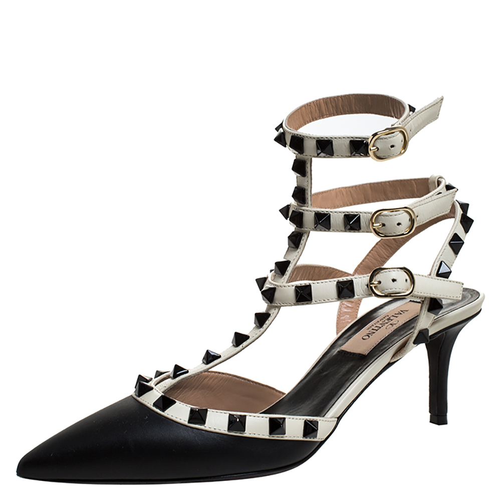 Valentino Black Leather Rockstud Strappy Pointed Toe Sandals Size 36.5
