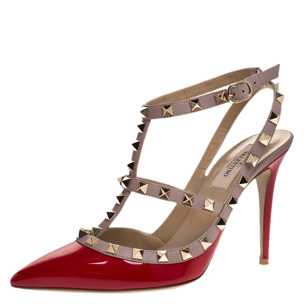 Valentino Red Patent Leather Rockstud Ankle Strap Sandals Size 38